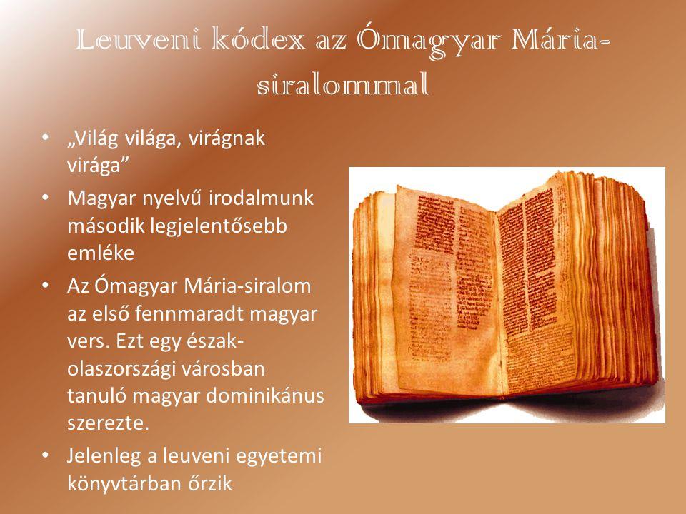 Leuveni kódex az Ómagyar Mária-siralommal