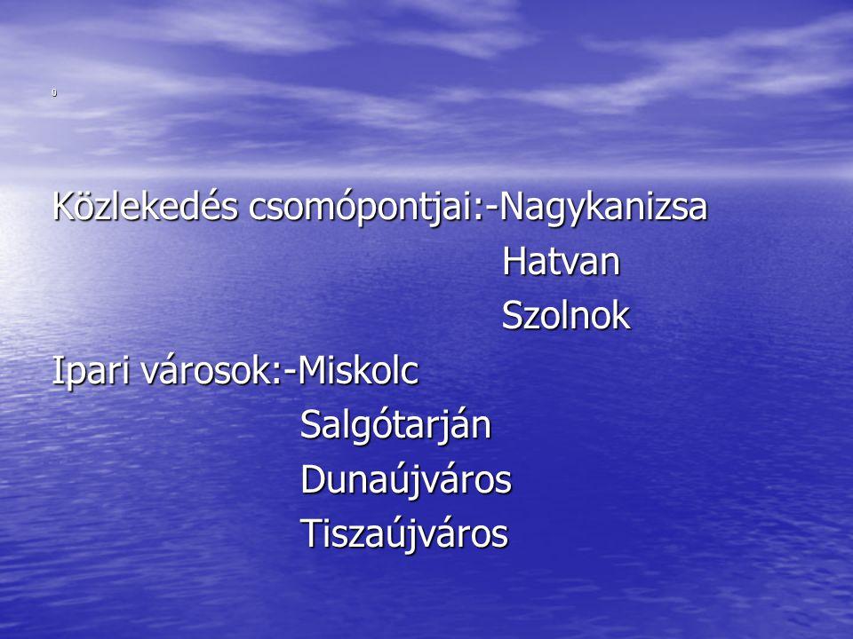 Közlekedés csomópontjai:-Nagykanizsa Hatvan. Szolnok. Ipari városok:-Miskolc. Salgótarján. Dunaújváros.