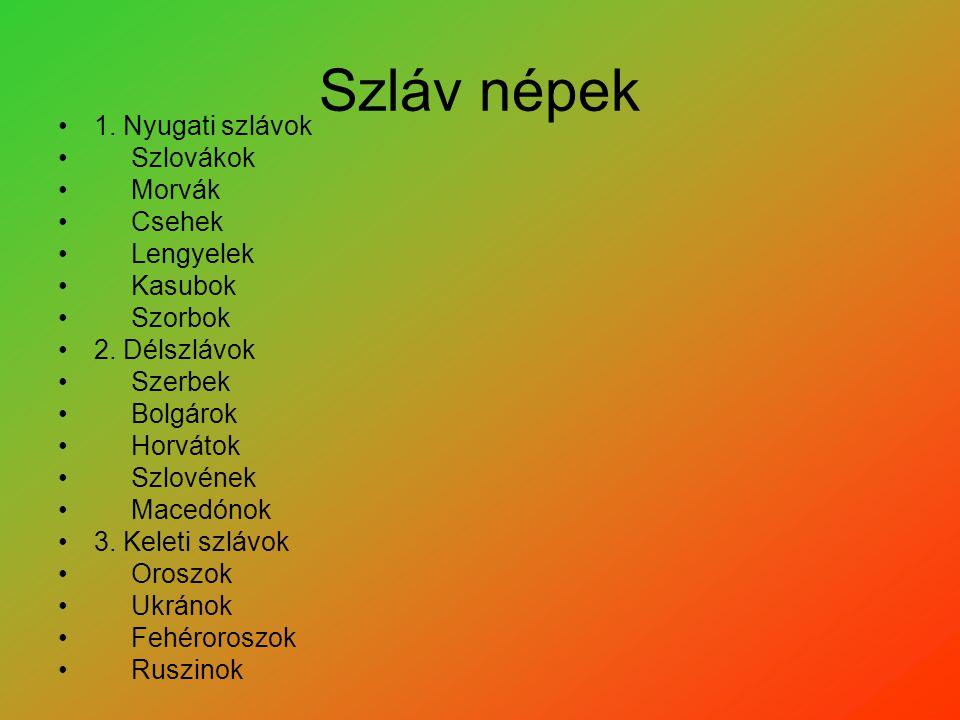 Szláv népek 1. Nyugati szlávok Szlovákok Morvák Csehek Lengyelek