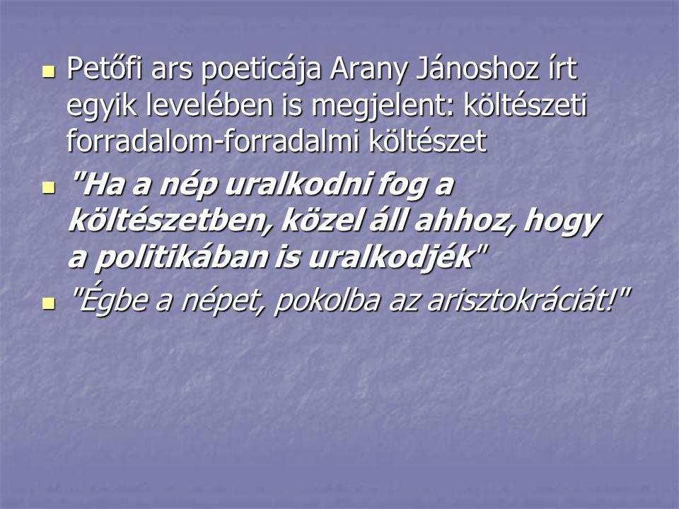 Petőfi ars poeticája Arany Jánoshoz írt egyik levelében is megjelent: költészeti forradalom-forradalmi költészet