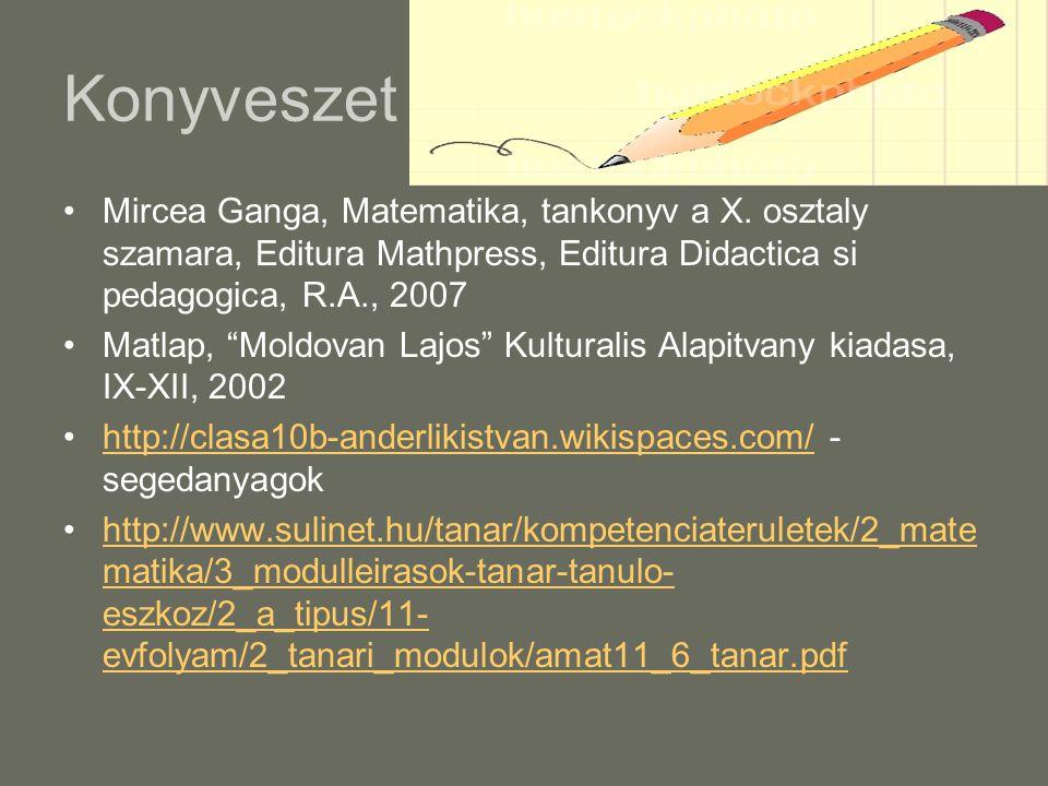 Konyveszet Mircea Ganga, Matematika, tankonyv a X. osztaly szamara, Editura Mathpress, Editura Didactica si pedagogica, R.A., 2007.