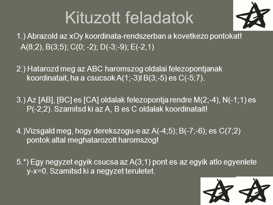 Kituzott feladatok 1.) Abrazold az xOy koordinata-rendszerban a kovetkezo pontokat! A(8;2), B(3;5); C(0; -2); D(-3;-9); E(-2,1)