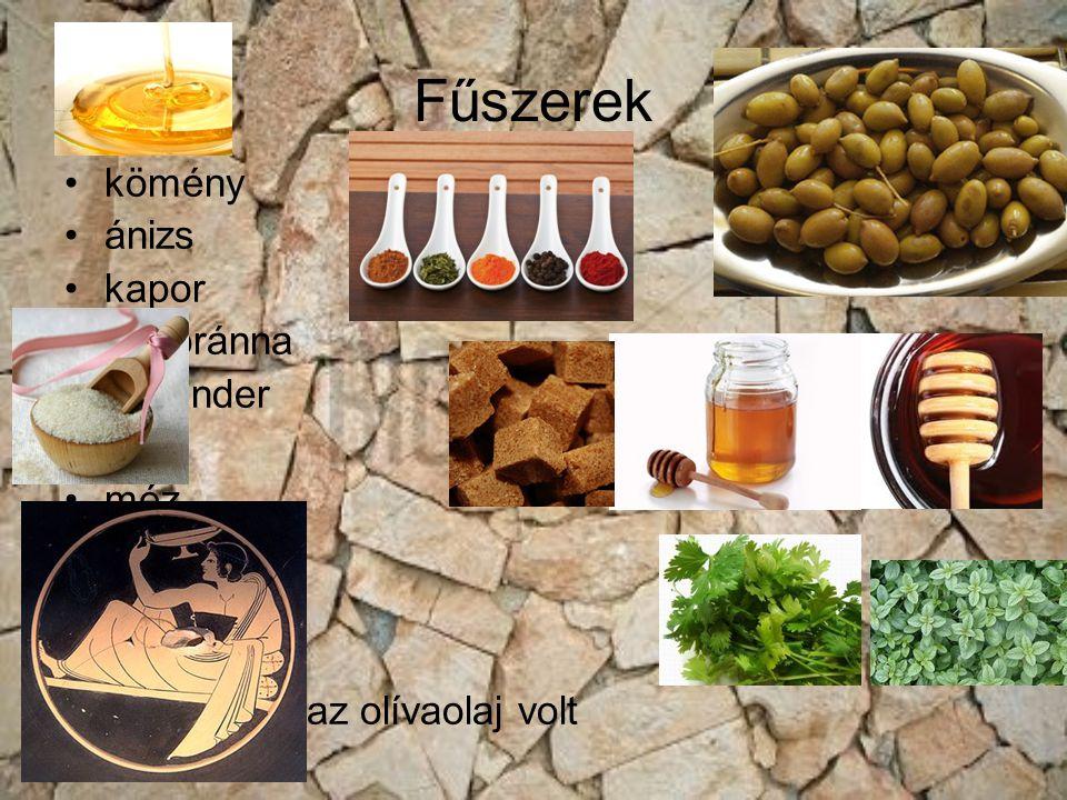 Fűszerek kömény ánizs kapor majoránna koriander ecet méz bors szezám