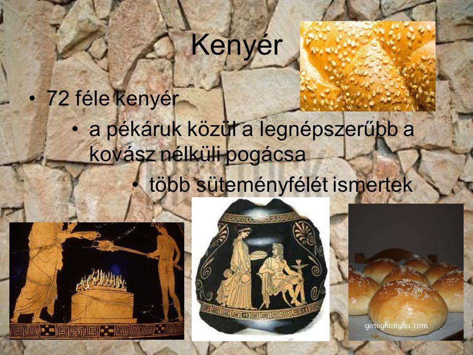 Kenyér 72 féle kenyér. a pékáruk közül a legnépszerűbb a kovász nélküli pogácsa.
