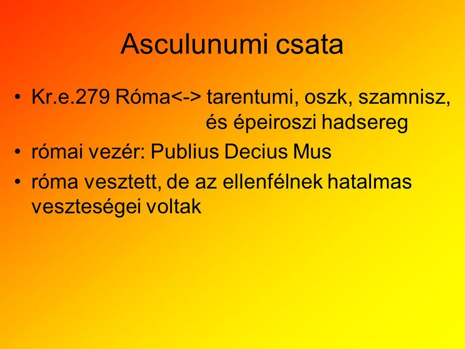 Asculunumi csata Kr.e.279 Róma<-> tarentumi, oszk, szamnisz, és épeiroszi hadsereg. római vezér: Publius Decius Mus.