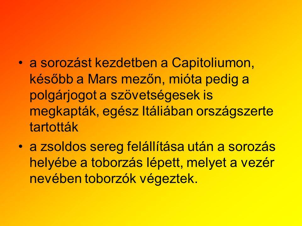 a sorozást kezdetben a Capitoliumon, később a Mars mezőn, mióta pedig a polgárjogot a szövetségesek is megkapták, egész Itáliában országszerte tartották