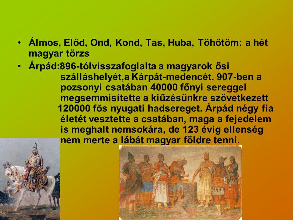 Álmos, Előd, Ond, Kond, Tas, Huba, Töhötöm: a hét magyar törzs