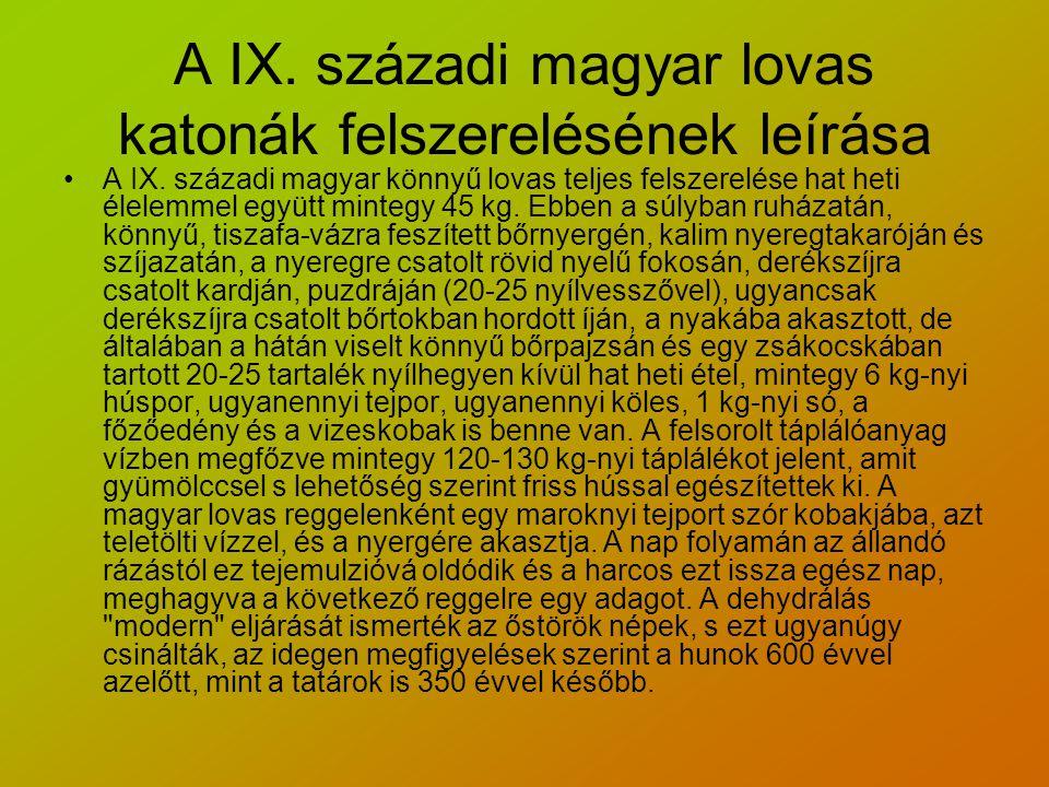 A IX. századi magyar lovas katonák felszerelésének leírása