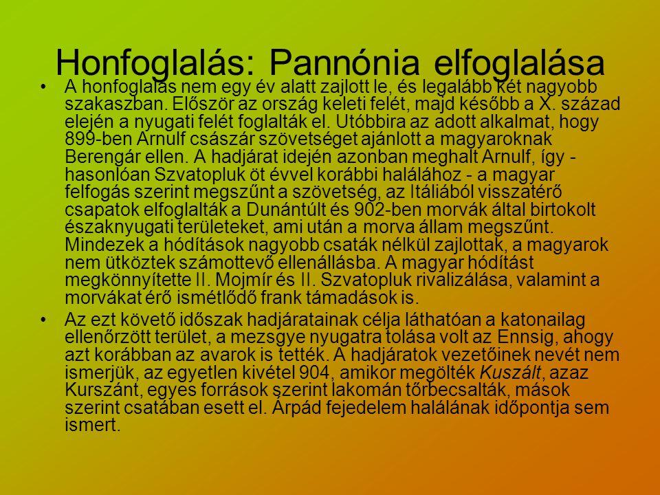 Honfoglalás: Pannónia elfoglalása