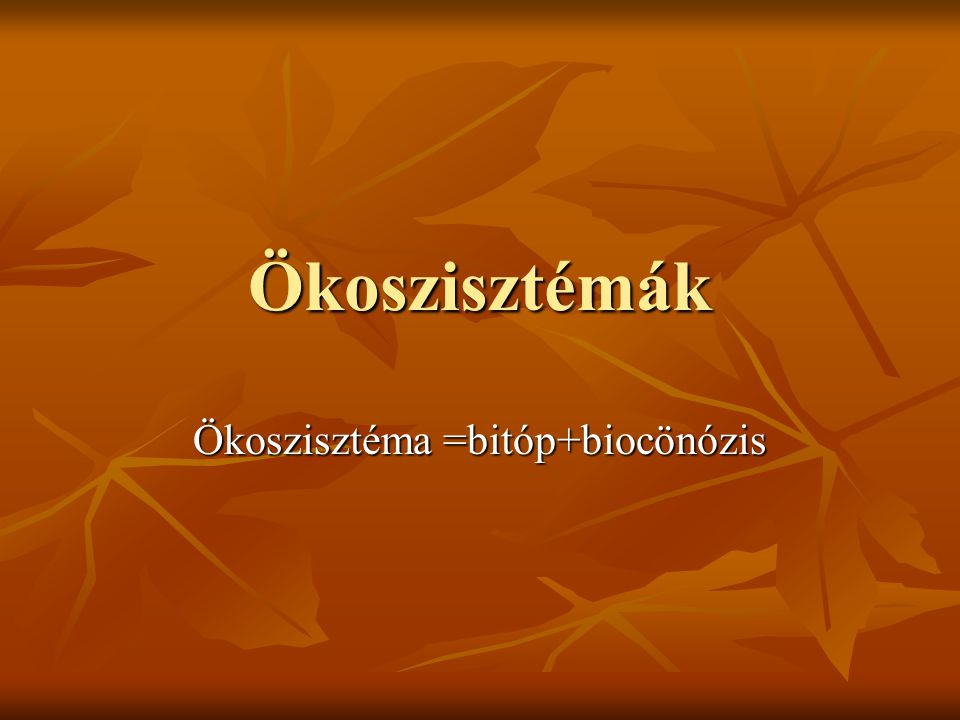 Ökoszisztéma =bitóp+biocönózis