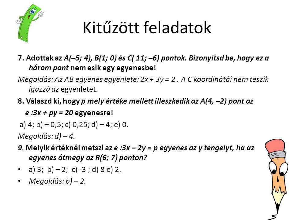 Kitűzött feladatok 7. Adottak az A(–5; 4), B(1; 0) és C( 11; –6) pontok. Bizonyítsd be, hogy ez a három pont nem esik egy egyenesbe!