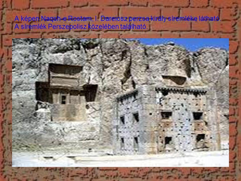 A képen Naqsh-e Rostam, I. Dareiosz perzsa király síremléke látható