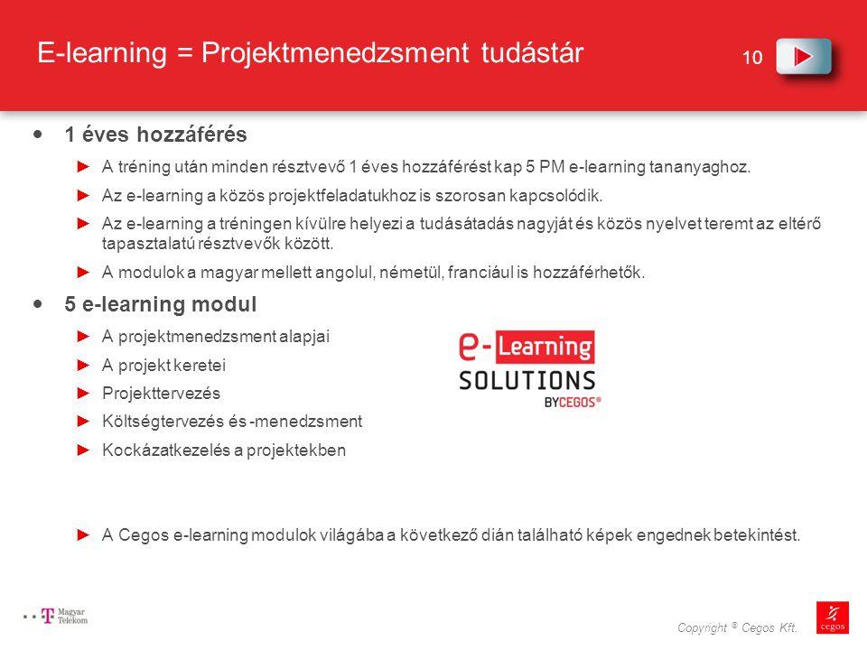 E-learning = Projektmenedzsment tudástár