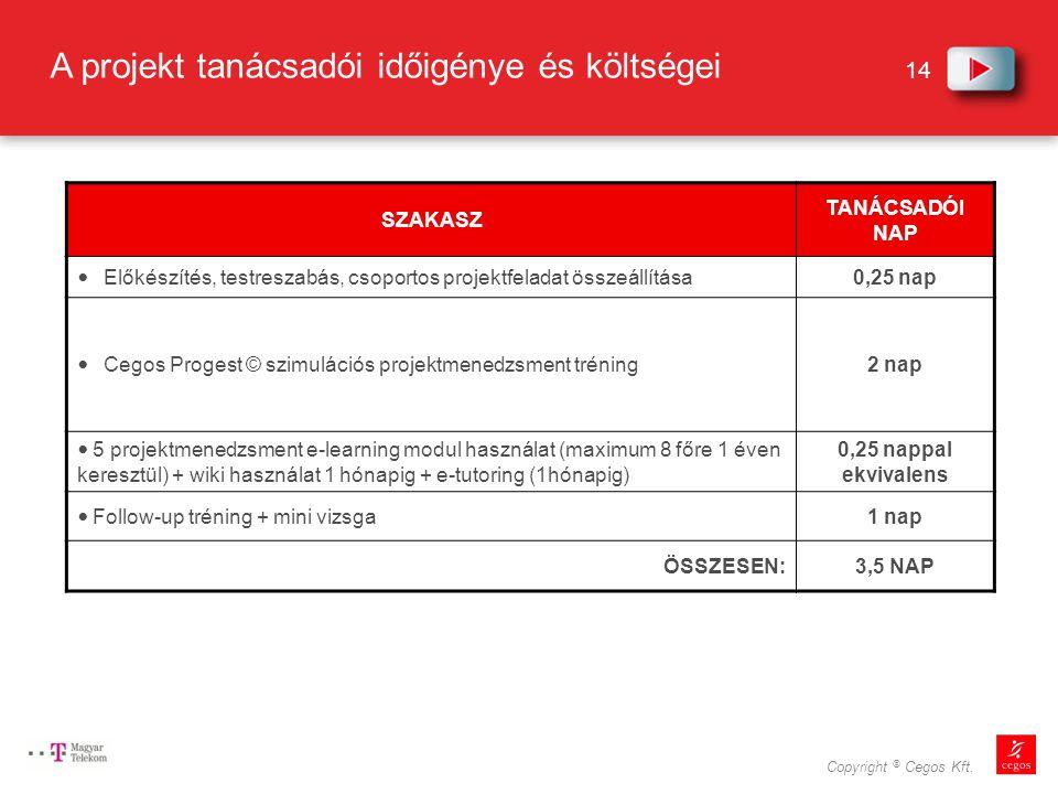 A projekt tanácsadói időigénye és költségei