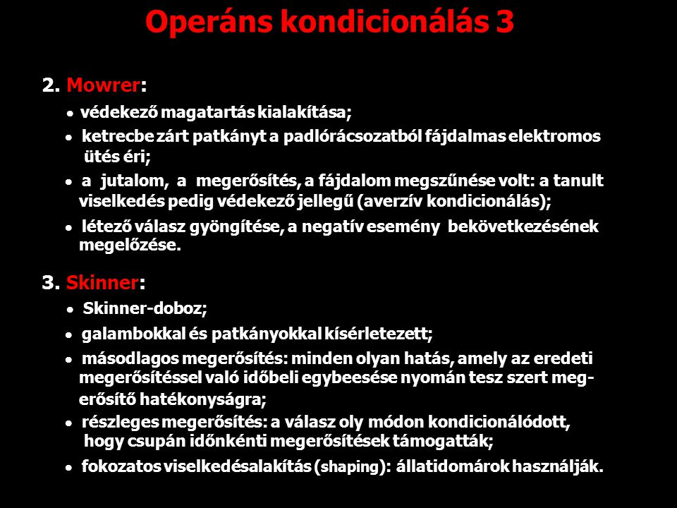 Operáns kondicionálás 3