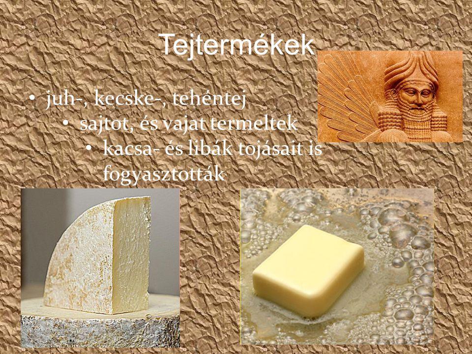 Tejtermékek juh-, kecske-, tehéntej sajtot, és vajat termeltek