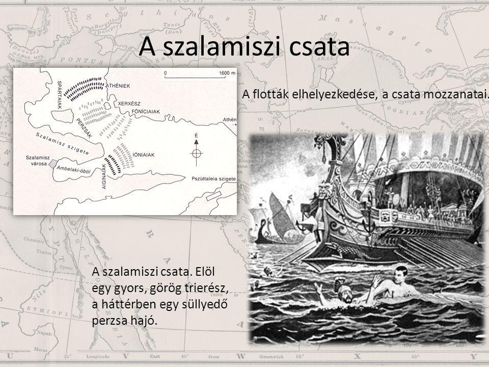 A szalamiszi csata A flották elhelyezkedése, a csata mozzanatai.