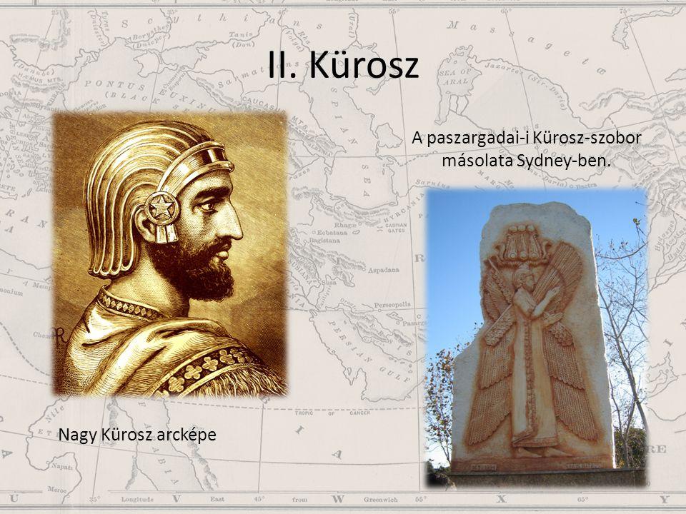 A paszargadai-i Kürosz-szobor másolata Sydney-ben.
