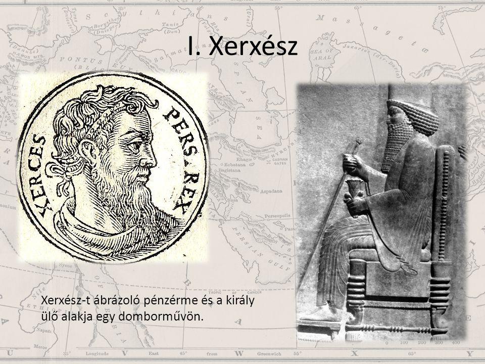 I. Xerxész Xerxész-t ábrázoló pénzérme és a király ülő alakja egy domborművön.
