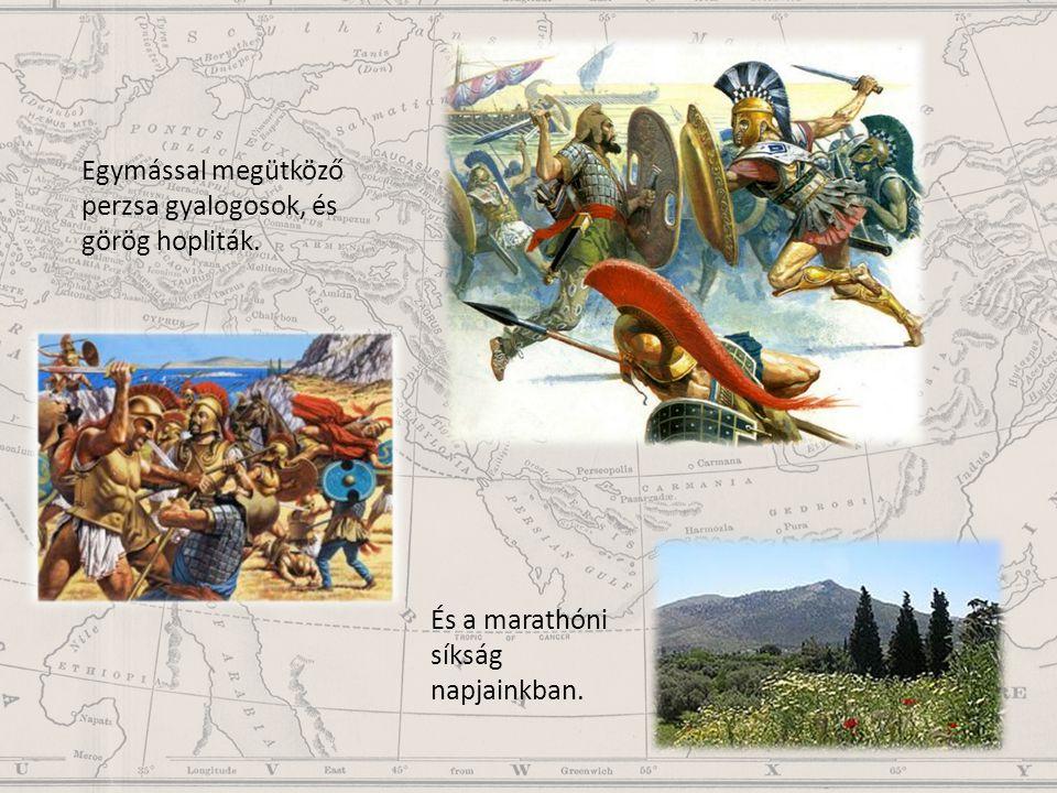 Egymással megütköző perzsa gyalogosok, és görög hopliták.
