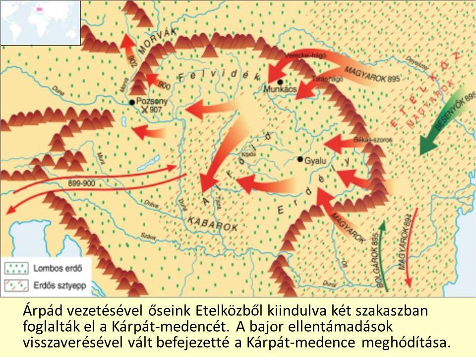Árpád vezetésével őseink Etelközből kiindulva két szakaszban foglalták el a Kárpát-medencét.