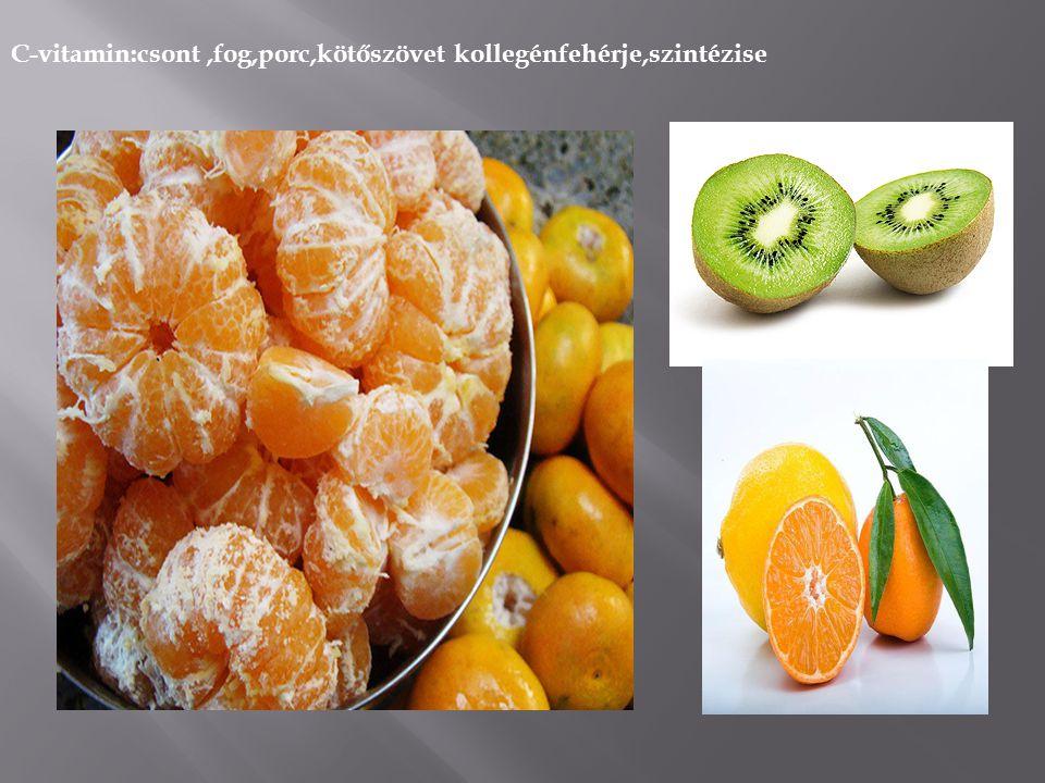 C-vitamin:csont ,fog,porc,kötőszövet kollegénfehérje,szintézise