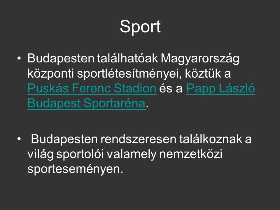 Sport Budapesten találhatóak Magyarország központi sportlétesítményei, köztük a Puskás Ferenc Stadion és a Papp László Budapest Sportaréna.