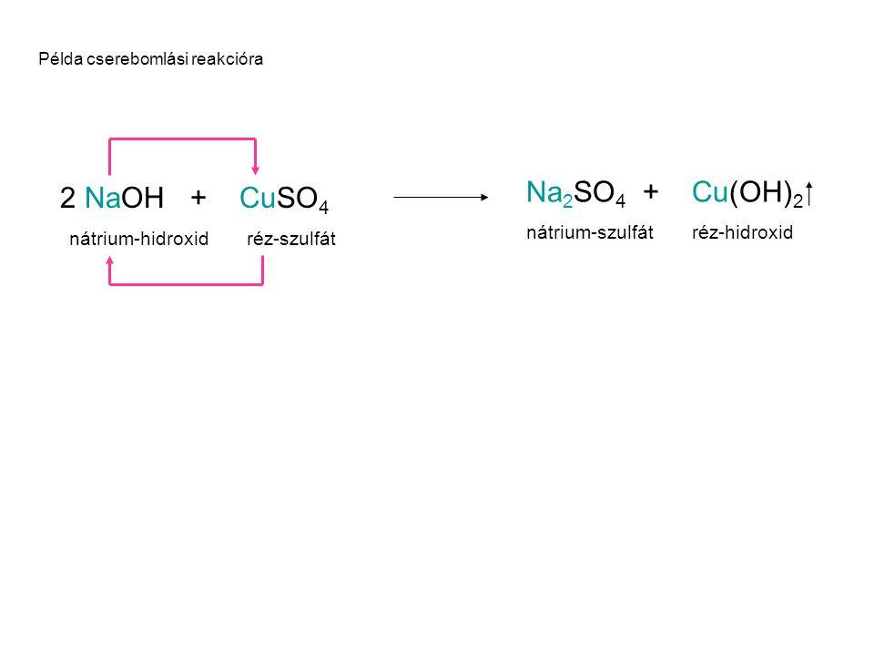 Na2SO4 + Cu(OH)2  NaOH + CuSO4 2 nátrium-szulfát réz-hidroxid