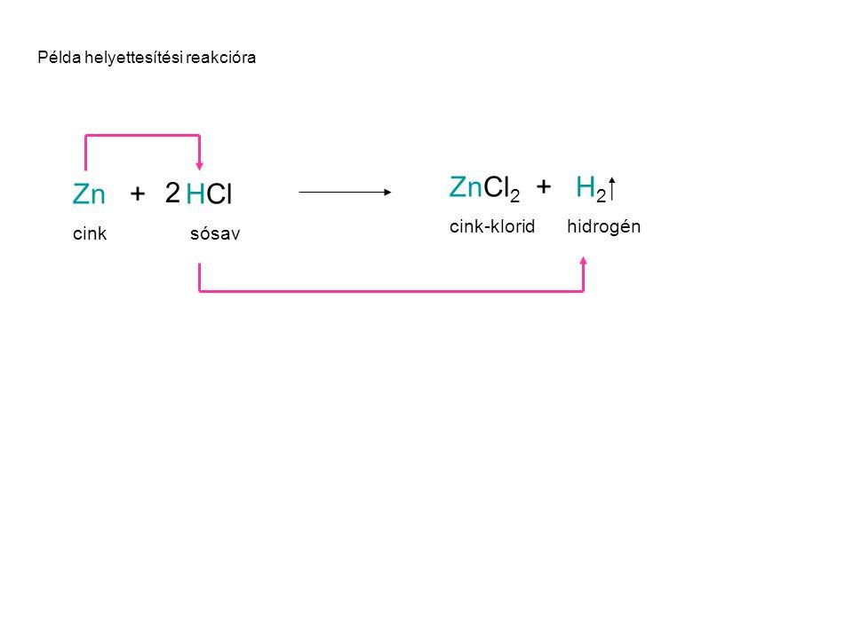 ZnCl2 + H2  Zn + HCl 2 cink-klorid hidrogén cink sósav