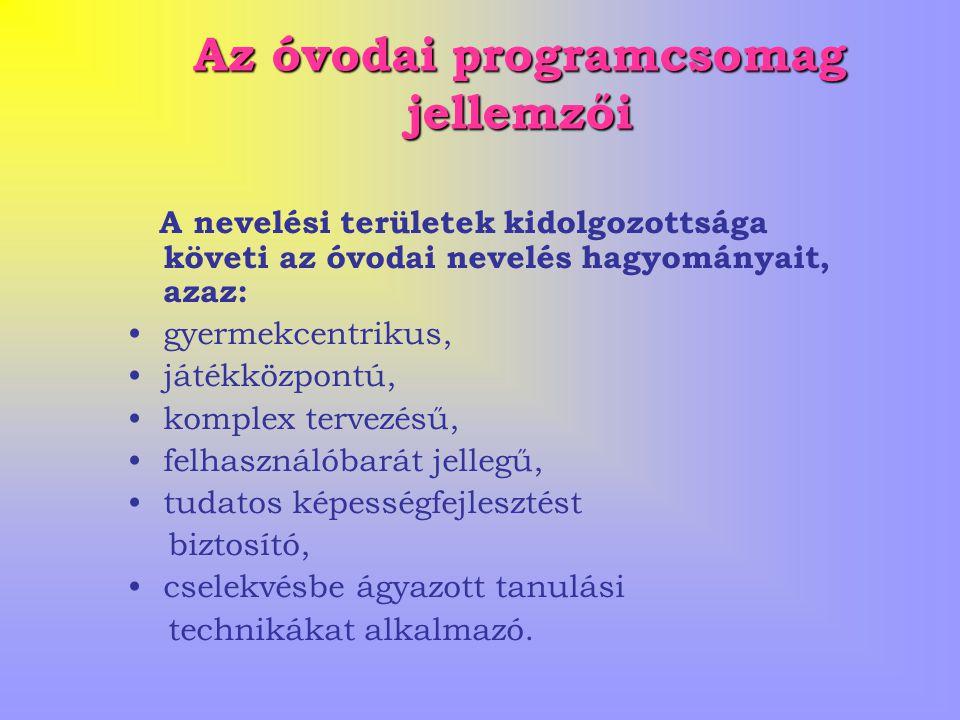 Az óvodai programcsomag jellemzői