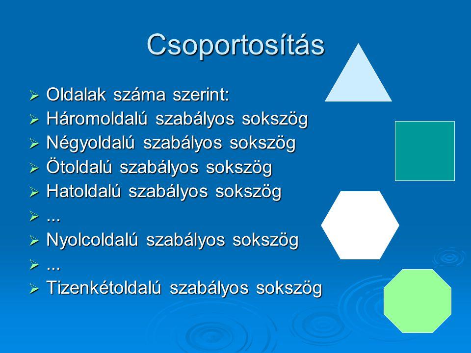 Csoportosítás Oldalak száma szerint: Háromoldalú szabályos sokszög
