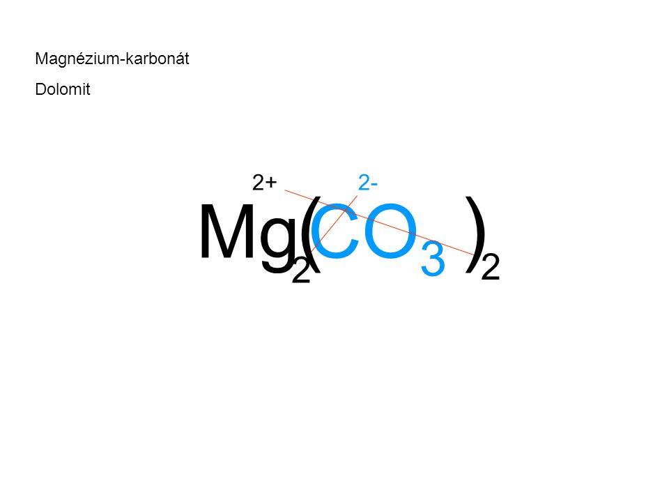 Magnézium-karbonát Dolomit 2+ 2- ( ) Mg CO3 2 2