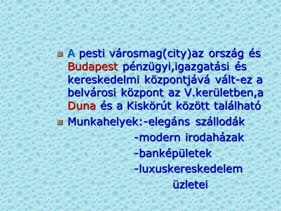 A pesti városmag(city)az ország és Budapest pénzügyi,igazgatási és kereskedelmi központjává vált-ez a belvárosi központ az V.kerületben,a Duna és a Kiskörút között található