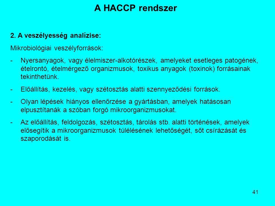 A HACCP rendszer 2. A veszélyesség analízise: