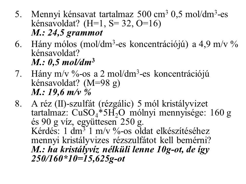 Mennyi kénsavat tartalmaz 500 cm3 0,5 mol/dm3-es kénsavoldat