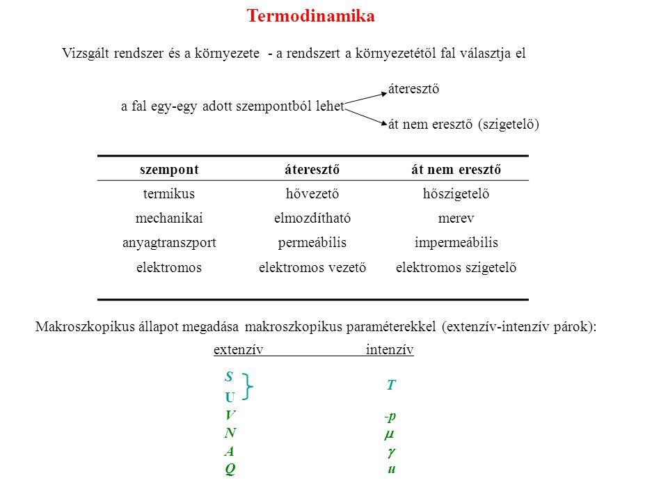 Termodinamika Vizsgált rendszer és a környezete - a rendszert a környezetétől fal választja el. áteresztő.