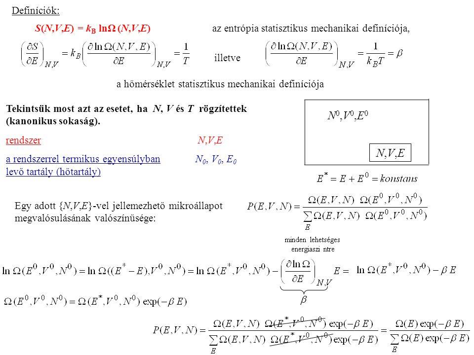 Definíciók: S(N,V,E) = kB lnΩ (N,V,E) az entrópia statisztikus mechanikai definíciója,
