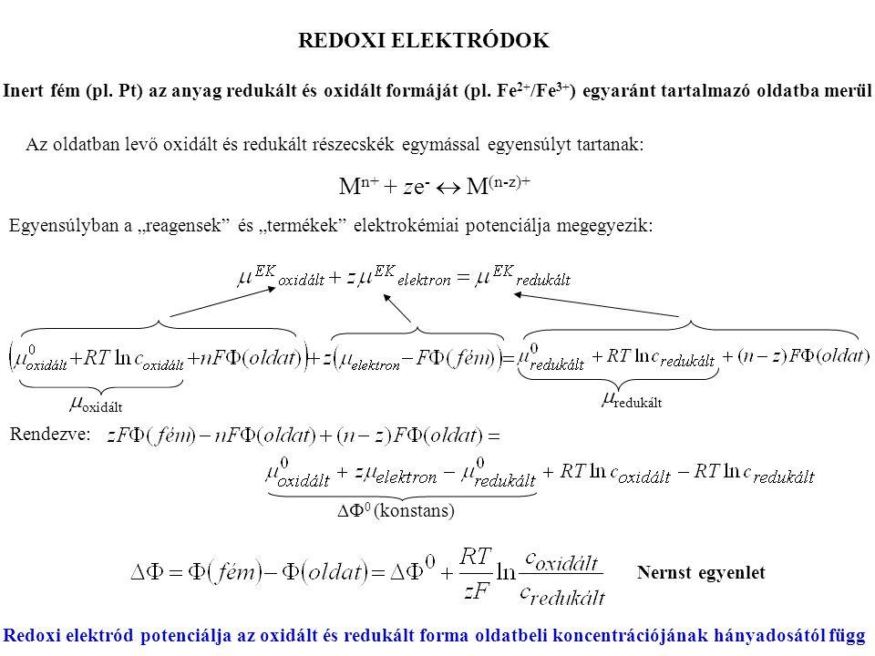 Mn+ + ze-  M(n-z)+ REDOXI ELEKTRÓDOK mredukált moxidált