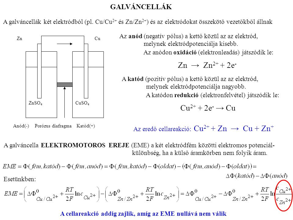 Az eredő cellareakció: Cu2+ + Zn → Cu + Zn+