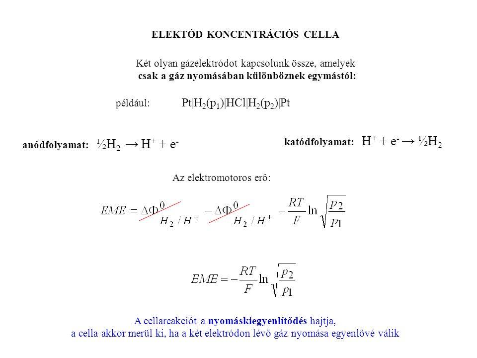 ELEKTÓD KONCENTRÁCIÓS CELLA