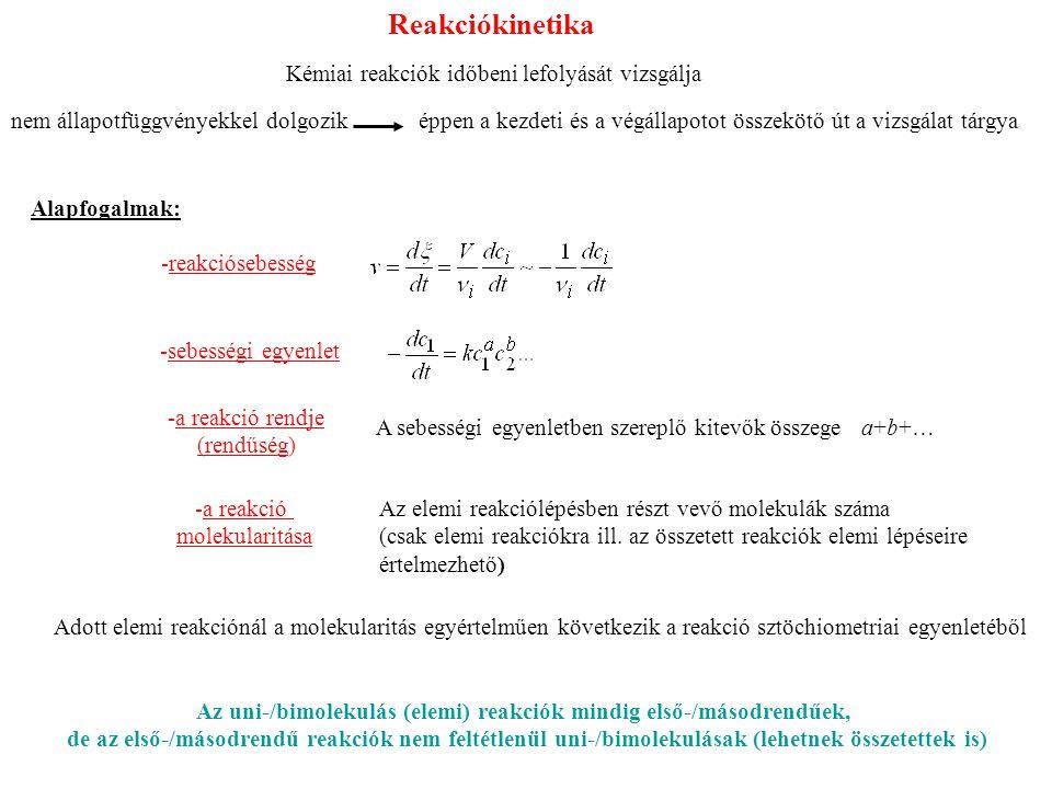 Az uni-/bimolekulás (elemi) reakciók mindig első-/másodrendűek,