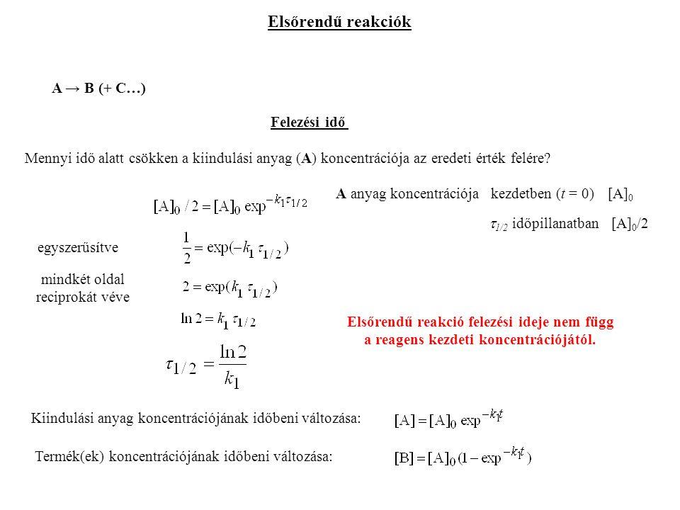 Elsőrendű reakciók A → B (+ C…) Felezési idő