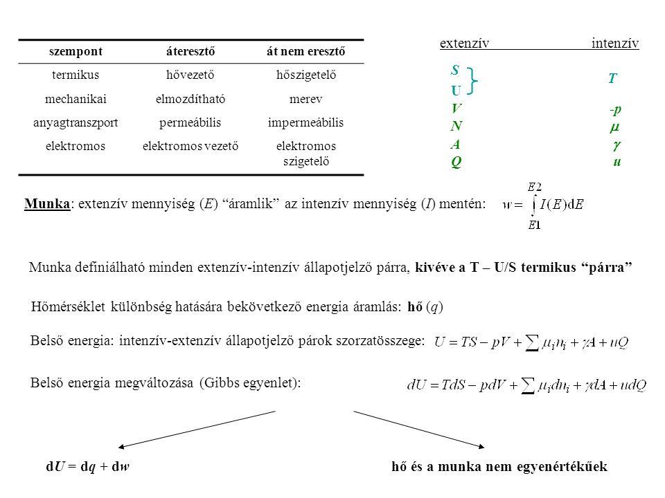 Hőmérséklet különbség hatására bekövetkező energia áramlás: hő (q)