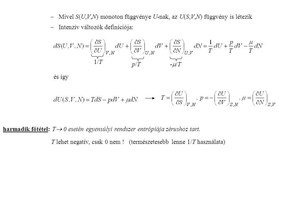 – Mivel S(U,V,N) monoton függvénye U-nak, az U(S,V,N) függvény is létezik
