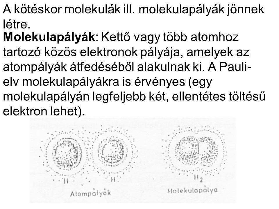 A kötéskor molekulák ill. molekulapályák jönnek létre.