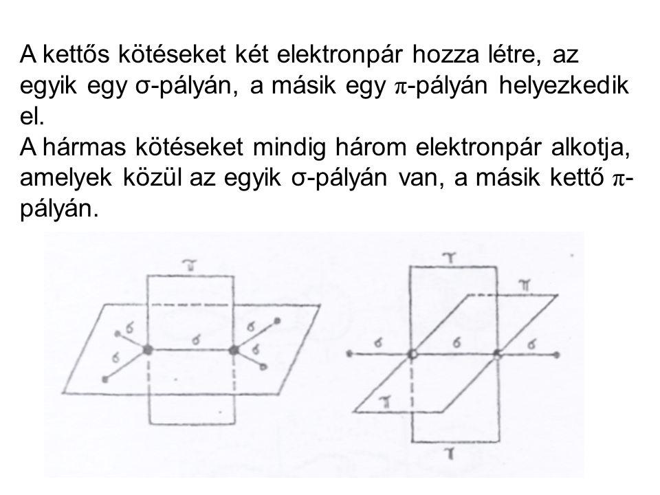 A kettős kötéseket két elektronpár hozza létre, az egyik egy σ-pályán, a másik egy π-pályán helyezkedik el.