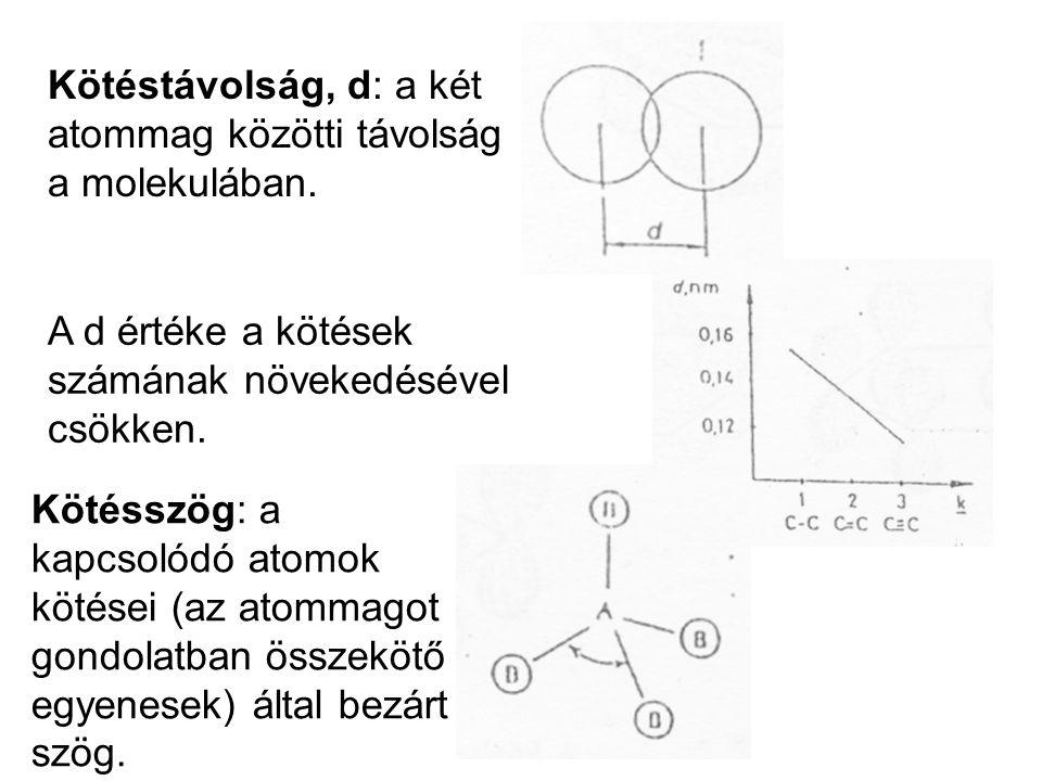 Kötéstávolság, d: a két atommag közötti távolság a molekulában.