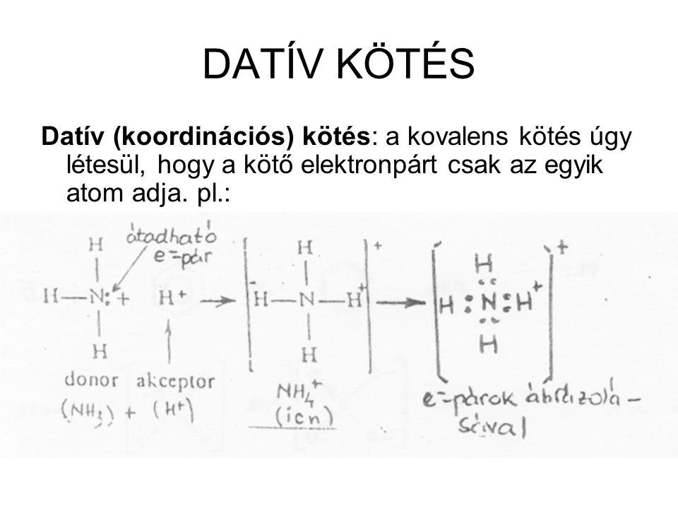 DATÍV KÖTÉS Datív (koordinációs) kötés: a kovalens kötés úgy létesül, hogy a kötő elektronpárt csak az egyik atom adja.