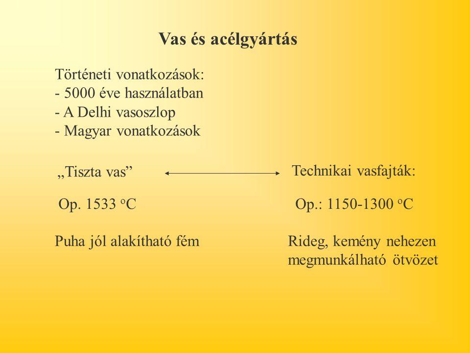 Vas és acélgyártás Történeti vonatkozások: - 5000 éve használatban