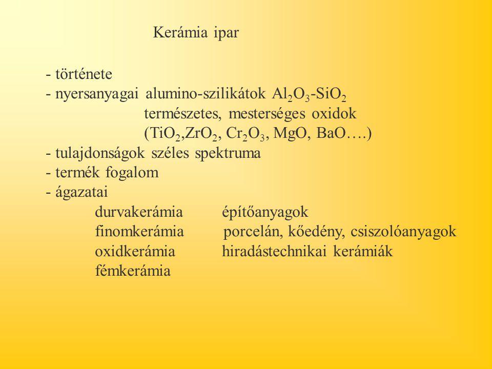 Kerámia ipar - története. - nyersanyagai alumino-szilikátok Al2O3-SiO2 természetes, mesterséges oxidok (TiO2,ZrO2, Cr2O3, MgO, BaO….)